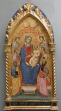 Trónoló Mária gyermekével, négy szenttel és két angyallal