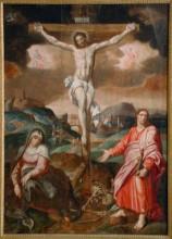 Krisztus a kereszten a Fájdalmas Anyával és Szent János evangélistával