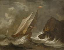 Viharos tengeri táj vitorlásokkal